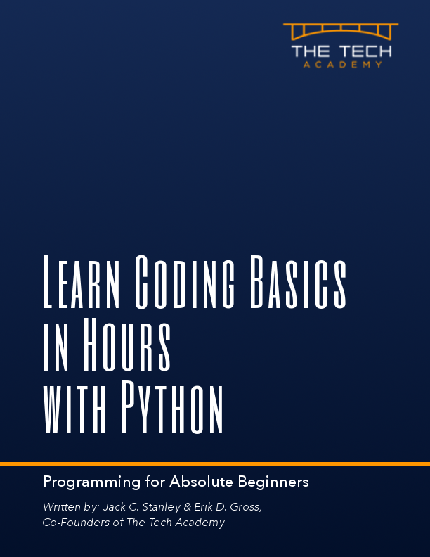 Learn Coding Basics in Hours with Python Tech Academy book, intro to programming language for beginners